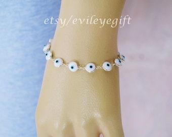 White Evil Eye Bracelet with Tiny White Evil Eye Beads in 925 Sterling Silver, Turkish Evil Eye, Greek Evil Eye, Arrives in white gift box!