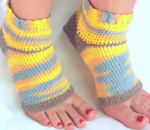 Free Crochet Pattern Toeless Socks : Cotton Socks Crochet Yoga Athletic Accessory by SewDarnComfy
