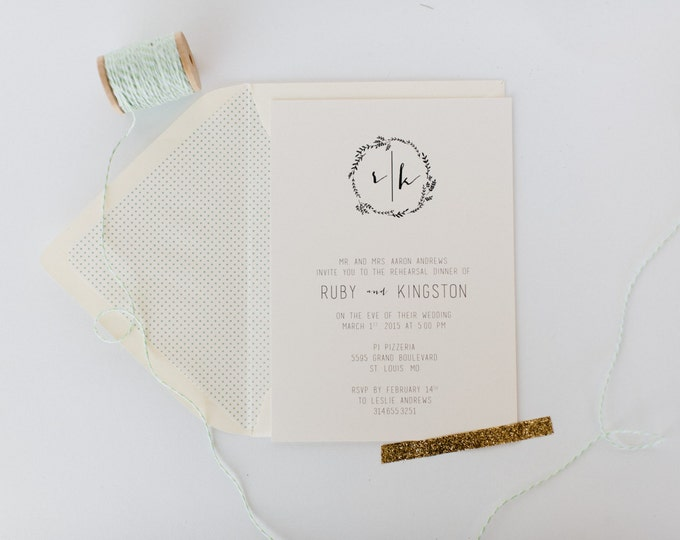 ruby rehearsal dinner invitation - laurel wreath (sets of 10)  // lola louie paperie