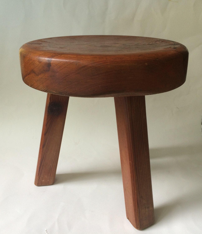 Vintage 3 Legged Wood Stool Milking Stool Plant By 9livesdecor