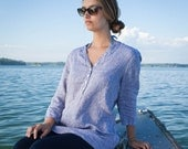 linen tunic shirt women's coverup made in USA made in maine