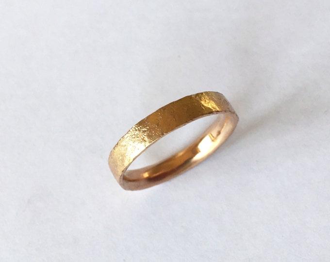 Rose Gold Ring with Distressed Texture - 18 Carat - Wedding Band -Organic Texture - Unisex Men's - UK Hallmarked
