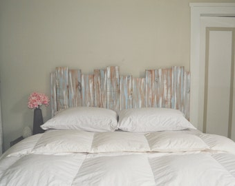Staggered Wood Shabby Chic Headboard Wall Art - Gray / Blue / White -  Gender Neutral