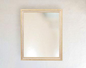 Vintage Natural Wood with white wash trim framed wall mirror size 8x10 11x14 16x20