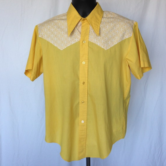 Bud Berma Mens Vintage Button Down Shirt Yellow Rockabilly