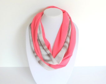 Pink Infinity Scarf, Coral Summer Scarf, Two Tones Scarf, Chiffon, Unique Handmade Scarf, Fashion Scarf, Pink Brown Scarf