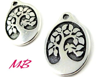 2 Pewter Bird in a Tree Charm, Tierra Cast Tree Charm, Oval Tree Charm