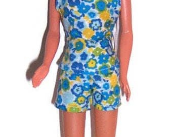 Fashion Doll Clothes-Aqua Floral Halter Top and Shorts