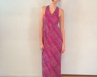 Vintage Dress.  1960s Maxi Dress.  Pink/Plaid Halter Top Summer Dress