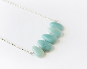 Amazonite Necklace Sterling Silver Chain Simple Gemstone Necklace Seafoam Green Amazonite Jewelry Light Green Necklace Pale Green