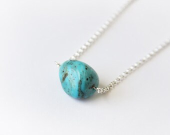 Genuine Turquoise Sterling Necklace Kingman Turquoise Sterling Silver Necklace Large Bead Chunky Nugget Necklace Simple Southwest Jewelry