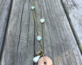 amazonite: long brass vintage coin & crystal necklace