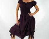 FRILL BOTTOM Drk Purple - Zootzu Renaissance Festival Dress, Medieval Dress, Gypsy Dress, Pirate Dress, Peasant Dress, Gown, Steampunk Dress