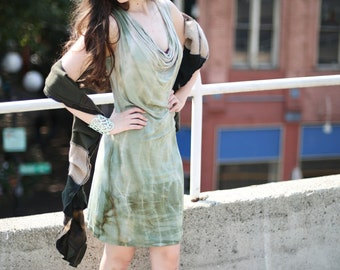 Bamboo cowl dress sage green from Simmer Clothing great for beach and travel! Summer dress, festival dress , cruisewear