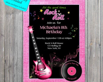 Rock n Roll Party Invitation, Girl Guitar invite, 1950s invite, rock and roll invite PROFESSIONALLY PRINTED also available in digital format