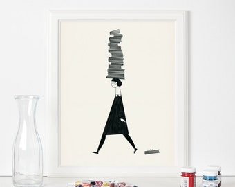 Book lovers. Bibliophilia. Illustration art. Giclée print on archival paper. 40x50 wall art poster.