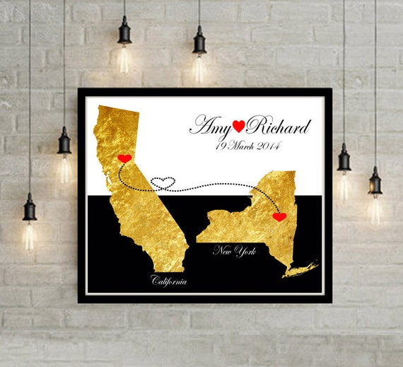 Wedding Gift List Usa : Wedding Gift USA States Map Wall Art Engagement Gift Anniversary Gift ...