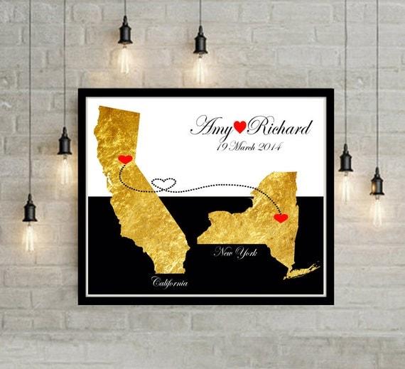 Wedding Gift Ideas Usa : Wedding Gift USA States Map Wall Art Engagement Gift Anniversary Gift ...