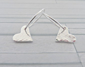 Silver heart earrings, Heart charm earrings, Fine silver hearts, heart earrings, Heart hoops earrings, Silver charm earrings, Made in the UK
