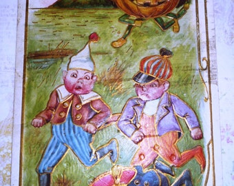 Antique Halloween Postcard - Boys Being Chased By Pumpkin Man