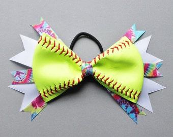 Softball Stacked Hair Bow - Baseball Stacked Hair Bow - Softball Hair Bow - Baseball Hair Bow