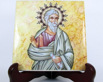 Saint Andrew The Apostle - ceramic tile - religious icon - religious gifts - catholic art - catholic - christian wall art - St Andrew icon
