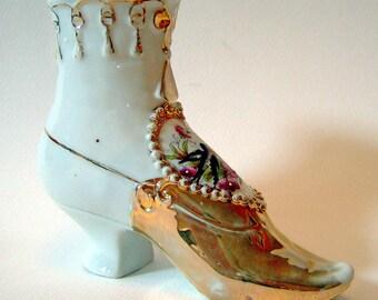 SALE Victorian Porcelain Shoe Boot Vase 'Forget Me Not' Romantic Sentimental Valentine Heart Purple Flowers Bluebird Christmas Gift