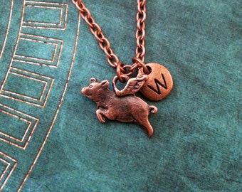 Flying Pig Necklace SMALL Copper Pig Charm Necklace Personalized Jewelry When Pigs Fly Good Luck Gift Pig with Wings Necklace Pig Pendant