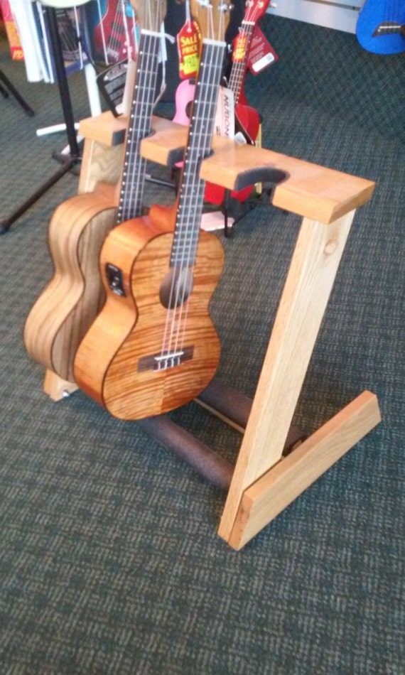 3 space Ukulele/Mandolin stand handcrafted from select AAA red oak