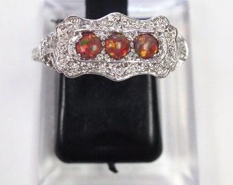 Art Deco Filigree Edwardian Antique  opal Sterling Silver 925  Ring sz 7  *October Birthstone*
