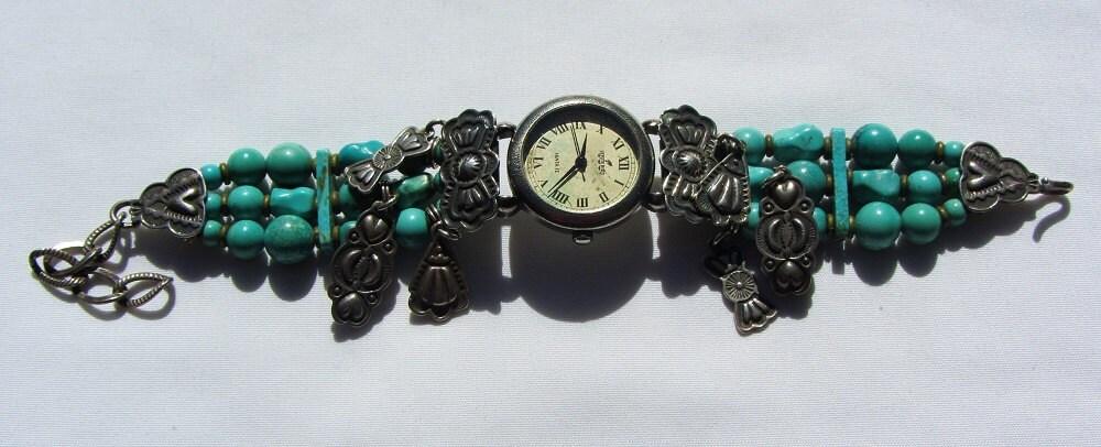 Don Lucas Vintage Peyote Bird Watch Bracelet With Turquoise