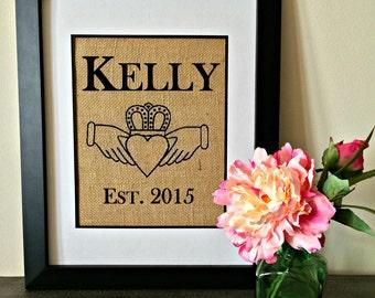 Claddagh Personalized Burlap Print. Irish burlap print. Anniversary, Wedding, Bridal gift. Customized Burlap Print.