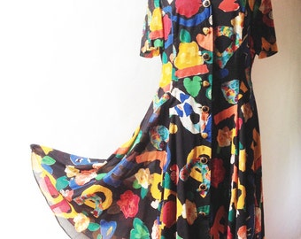 Vintage LOUIS FÉRAUD Paris Dress - 80's - SIze 12 Us - Free Shipping