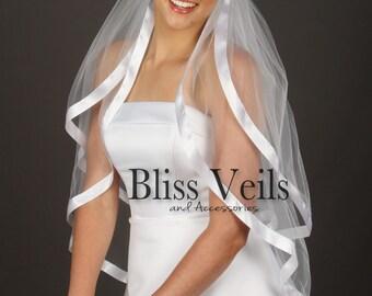 Waist Veil, Blusher Veil, Ribbon Veil,  2 Layer Veil, White Veil, Ivory Veil, Off White Veil, Fast Shipping!