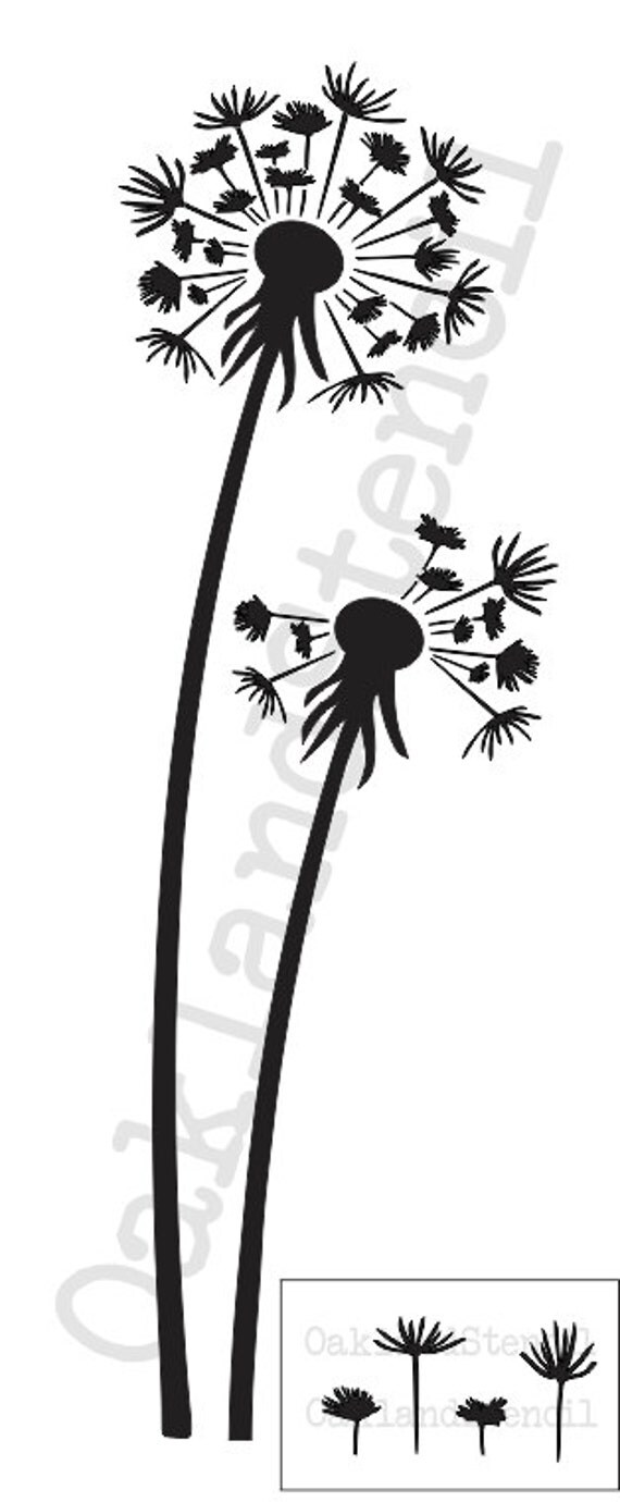 Dandelion Stenciltall Dandelions And Seeds 10x24