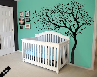 Tree wall decal huge tree wall decals nursery wall decor large wall mural kids room wall decoration with cute birds and leaves - 098