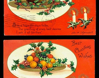 2 1907 Ellen Clapsaddle Christmas Postcards