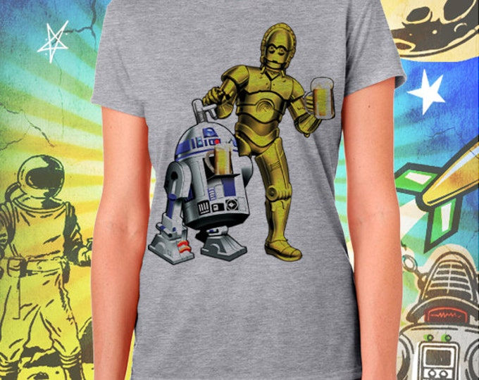 Star Wars / R2D2 and C3PO / Women's Gray Performance T-Shirt