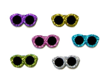 Glitter Sunglasses Jesse James Buttons in Pink Green Blue Purple Silver Gold Kid's Summer Craft Project Mini Doll Accessory Knit Sew Crochet
