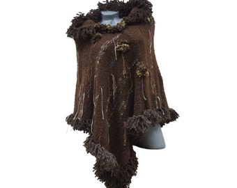 Hooded poncho Womens poncho sweater cape Fringed mexican