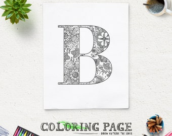 SALE Coloring Page Printable Alphabet With Flower Motif Instant Download Digital Art Pages Adult