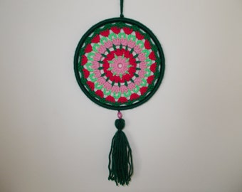 6 inches Green and Pink Crochet Mandala - Doily Dreamcatcher - Wall Hanging Dream Catcher - Wall Art - Suncatcher - Boho Hippie Home Decor