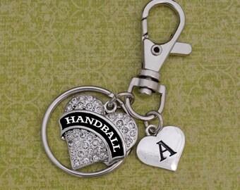 Custom Initial Handball Heart Keychain