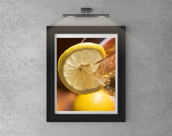 Iced Tea Photo, Lemon Wall Art,  Vegan Food Photo, Still Life Photography,  Food Photography, Photo Print, Drink Photo, Kitchen Decor
