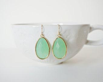 Mint Green and Gold Teardrop Gem Earrings