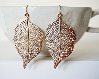 Rose Gold Leaf Filagree Earrings