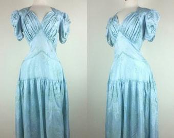 30s Dress Formal Gown Dropwaist Pale Blue S/M