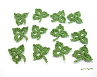 Leaf Clover applique, Crochet applique, Crochet  Leaves Applique, Handmade craft supply, embellishments, green applique shamrocks /set of 6/