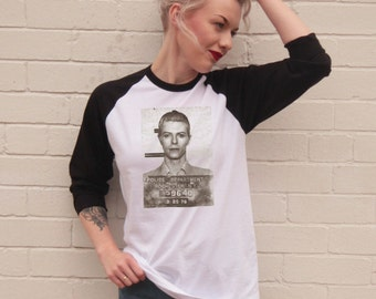 Vintage Style David Bowie Mugshot Jersey/T-Shirt