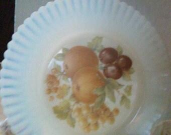 Mid Century dessert plates, set of 6, Vintage Avon White milk glass plates with fruit motif decal, ruffled edge dessert plates,